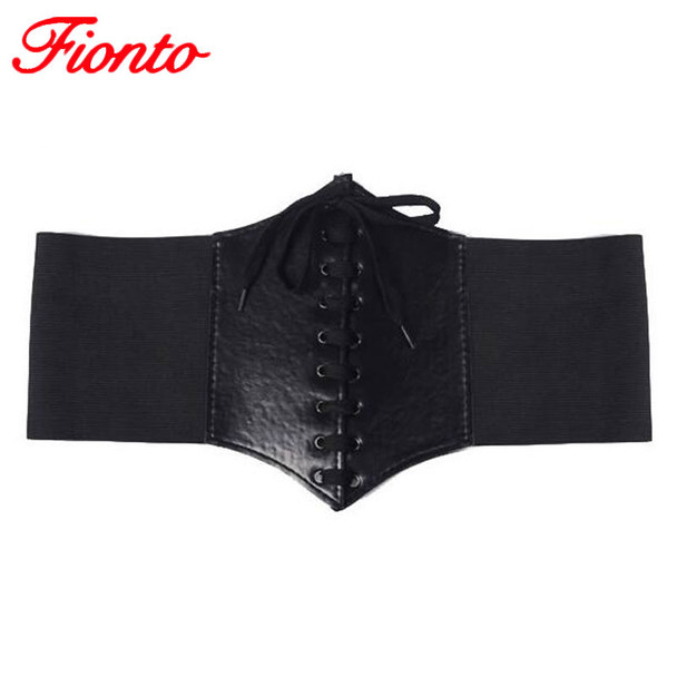2017 Lace Up Corset Bandage Wide PU Leather Slimming Body Belts For Women Elastic High Waist Belts Shaping Girdle Bands A1108