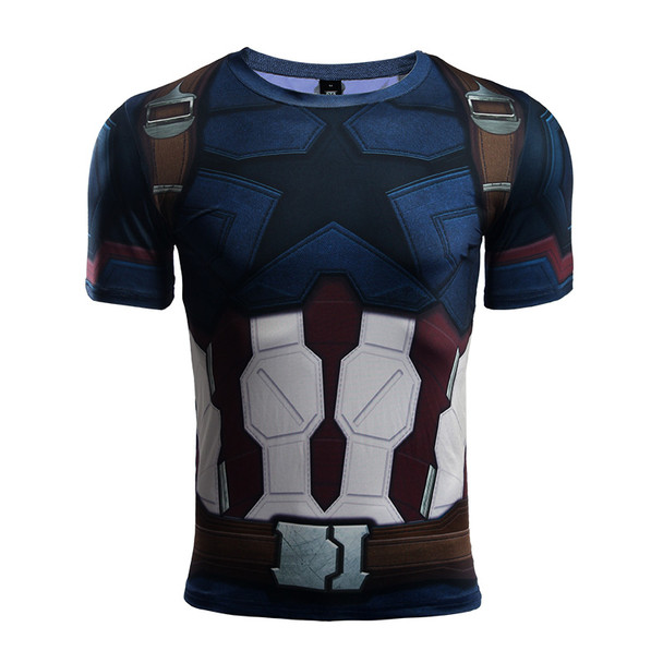 Avengers 3 Captain America 3D Printed T shirts Men Compression Shirt 2018 Cosplay Short Sleeve Crossfit Tops For Male Fit Cloth