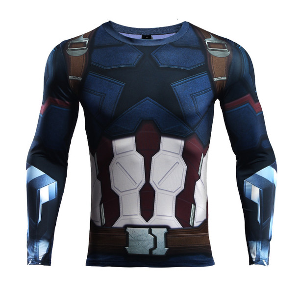 Avengers 3 Captain America 3D Printed T shirts Men Compression Shirt 2018 Cosplay Costume Long Sleeve Tops Male Crossfit Cloth