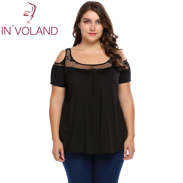 IN'VOLAND Women T-Shirt Tops Plus Size L-4XL Casual Cold Shoulder Short Sleeve Hollow Lace Patchwork Tees Tshirt Pullovers