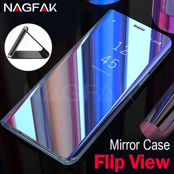 NAGFAK Flip View Mirror Phone Case For Samsung Galaxy S9 Plus S8 Plus Luxury Smart Flip Cover For Samsung Note 8 S7 S6 Edge Case