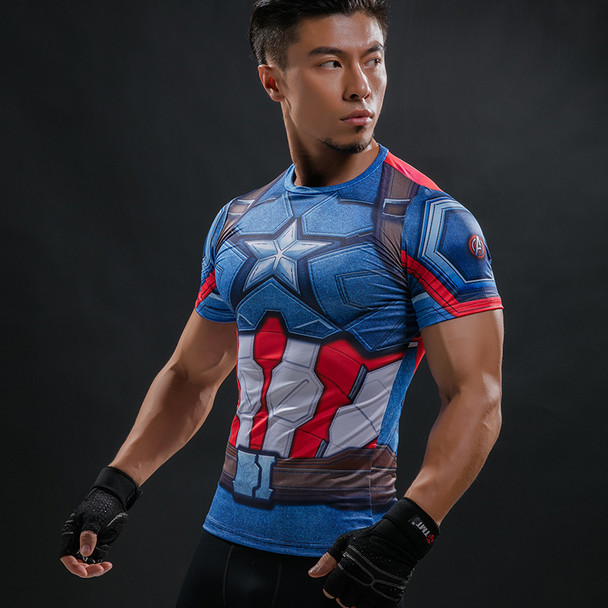 Captain America 3D Printed T-Shirt Men Compression Crossfit  Men T Shirt Marvel Avengers Tee Shirt Fitness Clothing Male Tops