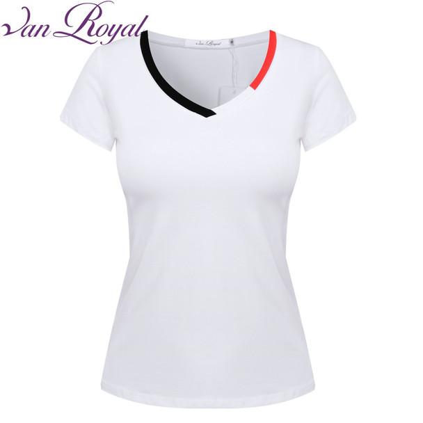 Van Royal 2018 Fashion T-shirts Women Tops Crop Top T Shirt Women Top Tees Clothing Female Tumblr Blusa Clothes V-Neck VR1237