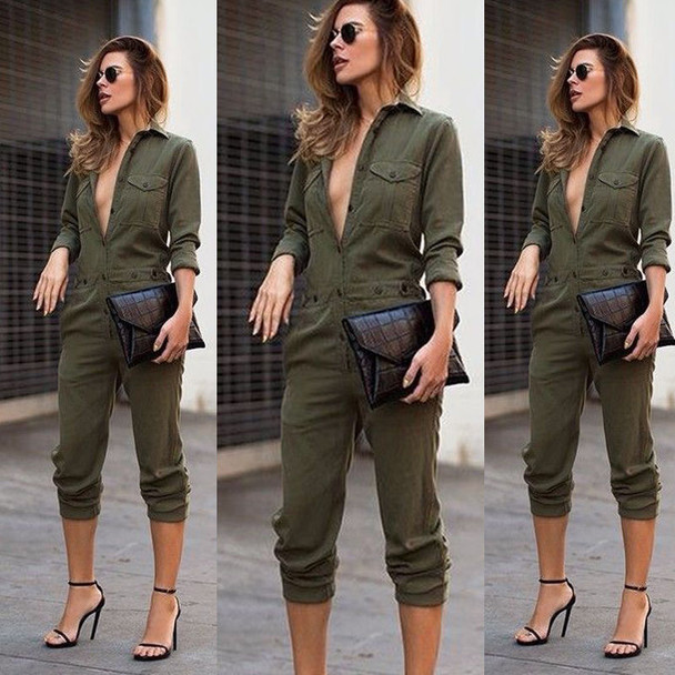 Sexy Women New Fashion Slim Bodycon Jumpsuit Long Sleeve Army Green Solid Casual Bodysuit Ladies Vintage Romper Long Jumpsuit