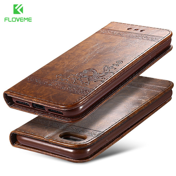 FLOVEME Phone Bag Cases For iPhone 7 6 6s Plus Leather Stand Wallet Mobile Accessories Case Cover For iPhone 6 7 6s 5s 5 SE