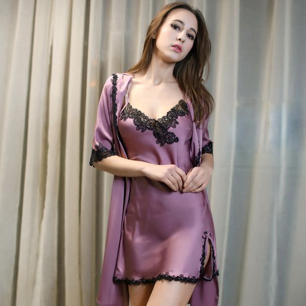 1931 Sexy Women Lace Silk Satin Kimono Bathrobe Nightgown robe Sets Half  Sleeve Lingerie Pajamas Sleepwear lounge female Nightwe 5ce581de3