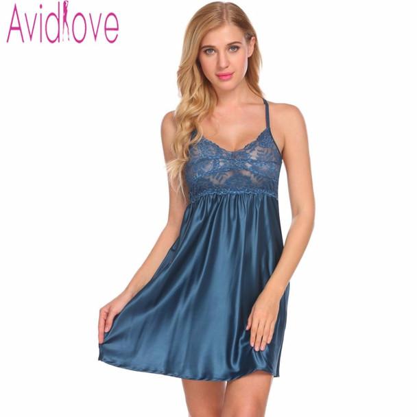Avidlove Women Sexy Satin Nightdress V Neck Nightgown Female Hollow Out  Lace Sleepwear Nightwear Ladies Sleep Dress Home Clothes 995cf1004