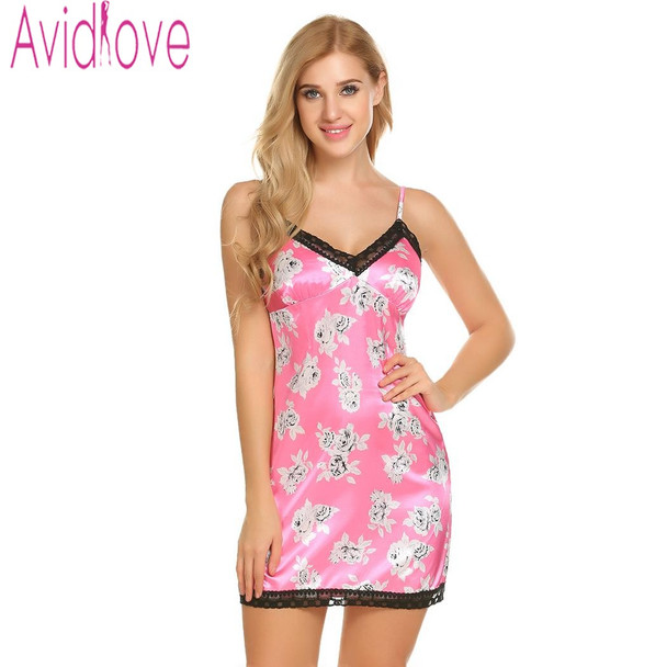 Avidlove Satin Night Dress Women Nightgown Nightwear Night Shirts Slik Floral Print Dress Plus Size Sleepshirt Chemise Nighty