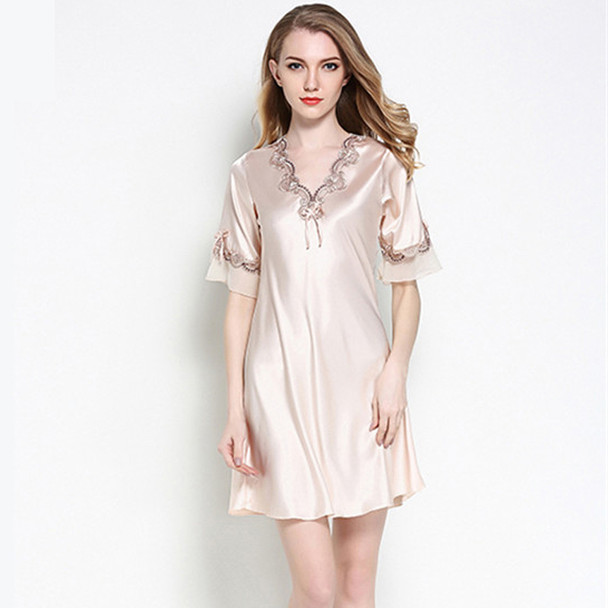 1fd52afaa8 Women Silk Satin Nightgown Short Sleeve Sleepshirt V-neck Night Shirt  Elegant Night Dress Lace Sleeping Dress Home Dress