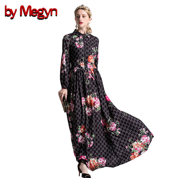 by Megyn christmas long dress women winter runway vintage long sleeve splice floral print dresses vestidos women party dress