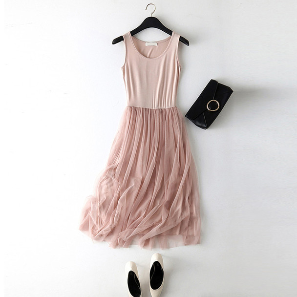 New Sexy Lace Vest Dress Women Sleeveless O-neck Loose Spaghetti Strap Spring Summer Dress Cotton Elegant Party Dresses BL1490