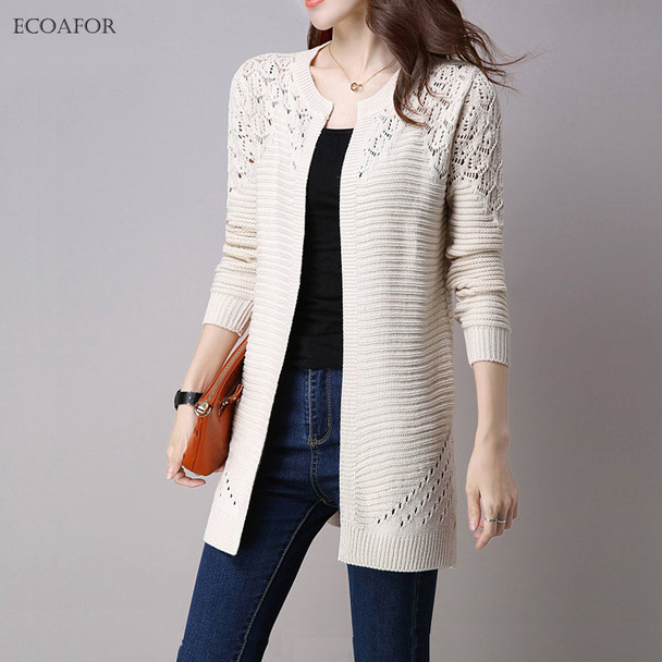 Fall Women Cardigan Solid Color Hollow Out Sweaters Size S-XXL Poncho Full Sleeve Open Stitch Female Knitted Outerwear