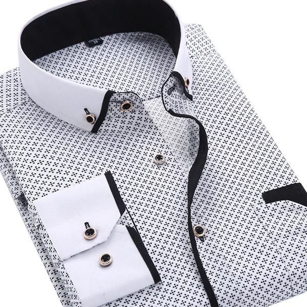 Men Fashion Casual Long Sleeved Printed shirt Slim Fit Male Social Business Dress Shirt Brand Men Clothing Soft Comfortable