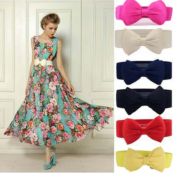 2018 Summer Elegant Sweet Big Bow Waistband Elastic Wide Dress Stretch New Designer Belts for Women Vintage Girls Cinch Belt
