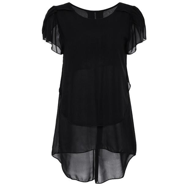 2017 Womens Short Sleeve Chiffon Blouse Peplum Summer Tops Ladies Long Office Shirts Plus Size Ruffle Blouse Femme 4XL 5XL