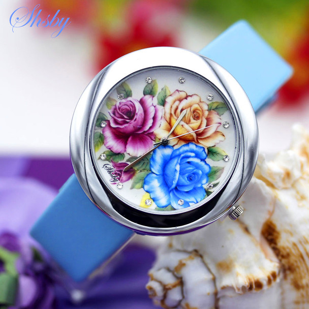 Shsby Brand flowers Leather Strap Watches Women Dress Watch girl Casual Quartz wristwatch Lady Rhinestone Quartz bracelet Watch