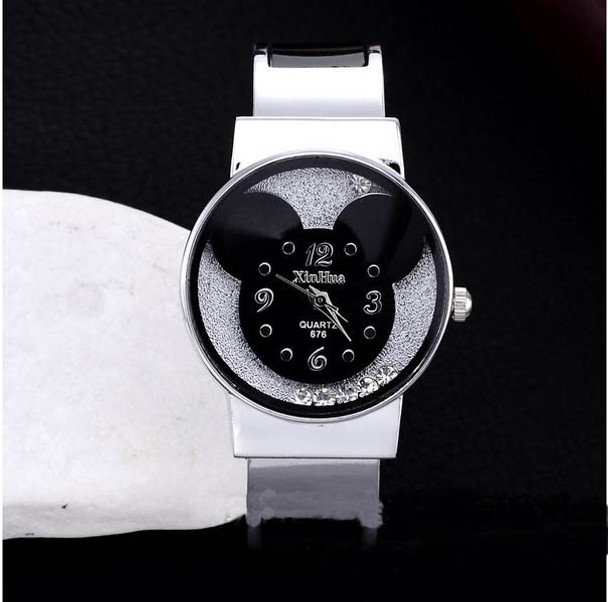 New Fashion Mickey Bracelet Watches Women dress Analog Girl Cute rolling Rhinestone wristwatches 2015 Ladies Casual Quartz watch