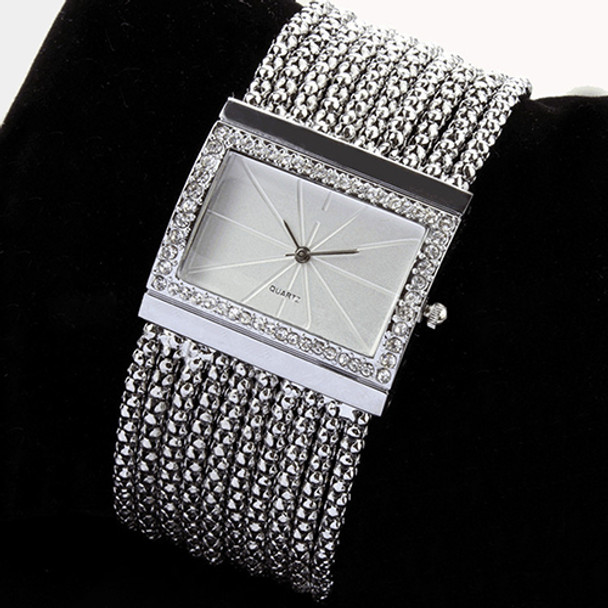 2017 New Fashion Alloy Silver Band Quartz Wtach Luxury Women Rhinestone Bangle Bracelet Watch Dress Ladies Wrist Clock 6T4T