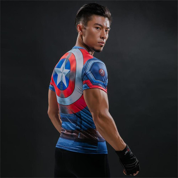 2018 Superman Captain America Sports T-Shirt 3D Print Running Fitness Wear Stretch GYM Compression Shirts Men's Short Sleeve Top