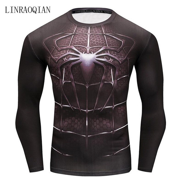 Newest 2018 Fashion Men T-Shirt Superman Captain America Superhero Spiderman T Shirt Men Fitness Tee Compression Shirt Tights