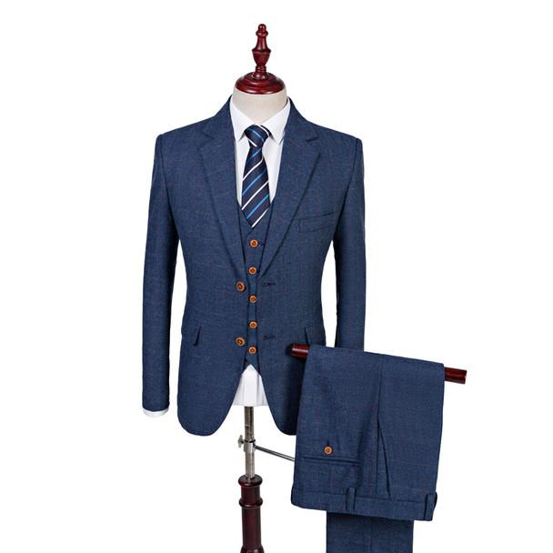 74d3dbc2d Latest Coat Pant Design Custom Made Wool Blue Herringbone Retro gentleman  Style Men Wedding Suits Tailor Blazer