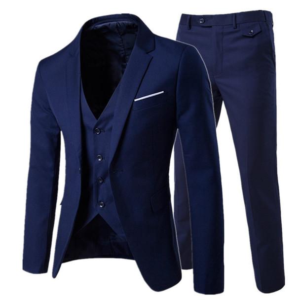 2018/ men's fashion Slim suits men's business casual clothing groomsman three-piece suit Blazers jacket pants trousers vest sets