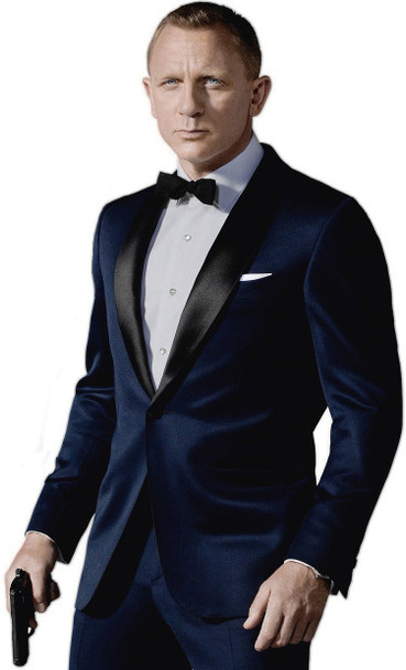 2018 Custom Made Dark Blue Tuxedos  Inspired By Suit Worn In James Bond Wedding Suit business suits Groom suit( Jacket+ Pants )