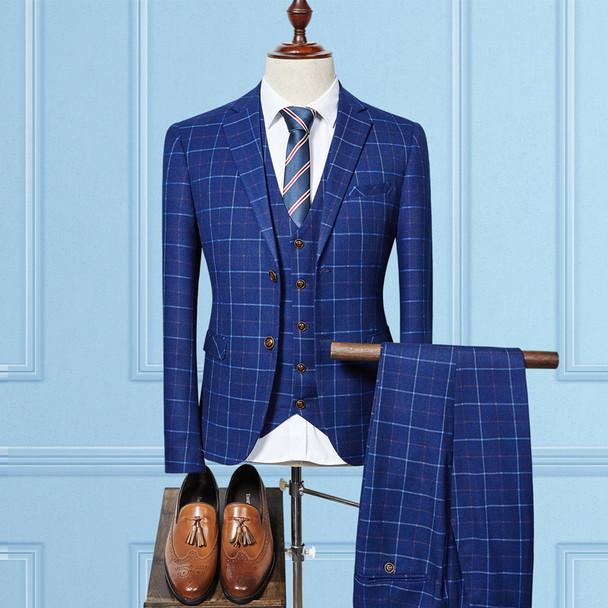 (Jacket+Vest+Pants) 2018 High quality Men Suits Fashion grid stripe Men's Slim Fit business wedding Suit men Wedding suit