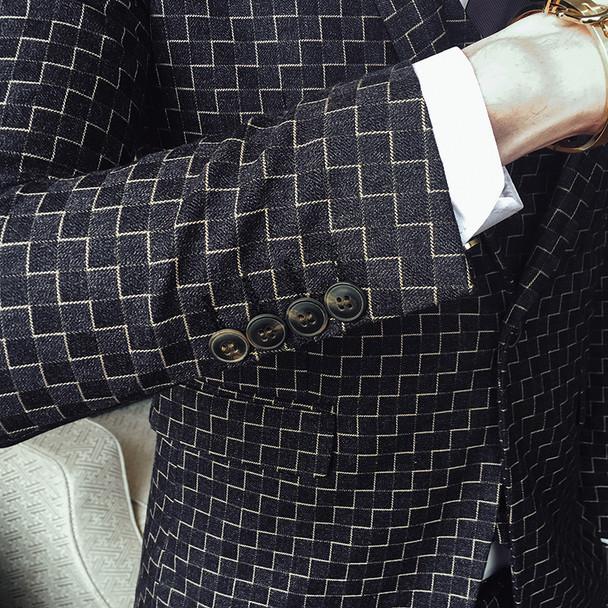 Check Suits For Men 3 Piece Wedding Suits For Men Costume Slim Fit Suit