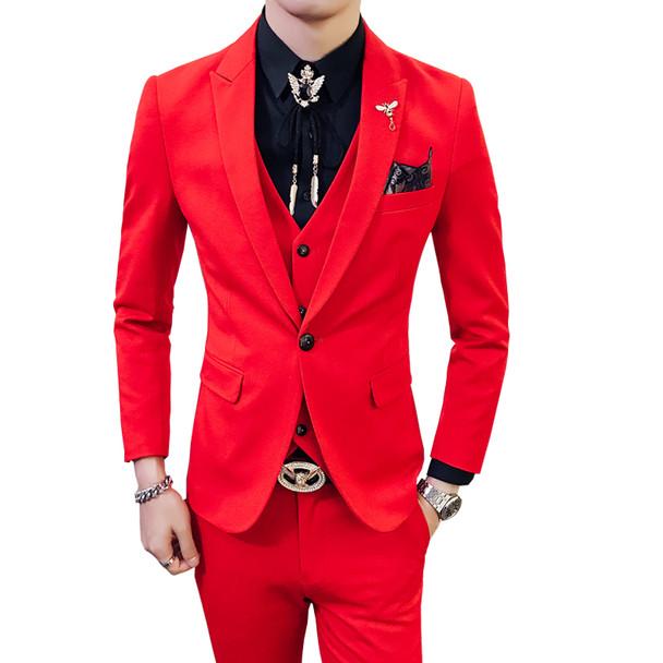 Red Prom Suit 2018 New Evening Man Dress Wedding Suit Male Black Orange White Blue Costume Homme Ternos Slim Masculino 3 Pieces