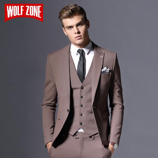 Sale Brand Mens Suit Jacket Formal Business Blazer Men Groom Three Pieces Slim Fit Party Clothing Single Button Wedding Dress