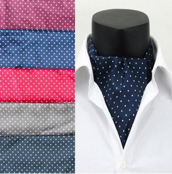 Men Vintage Polka Dot Wedding Formal Cravat Ascot Scrunch Self British style Gentleman Polyester Silk Neck Tie
