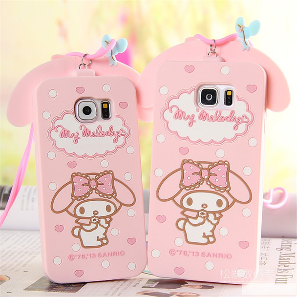 For Samsung Galaxy S6 S7 Edge S8 S8Plus Note 3/4/5 Cover Cute 3D Hello Kitty My Melody Bow Cartoon Capa Soft Silicone Phone Case