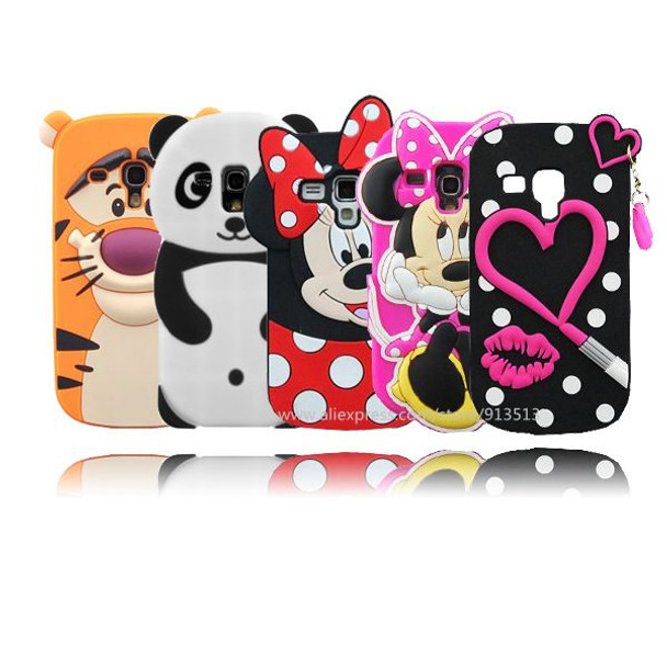 new style 5afac db999 Silicone Case For Samsung Galaxy S3 mini 3D Minnie Hello kitty Pig Owl  Sulley Stitch Back Cases Cover For Samsung S3 mini i8190