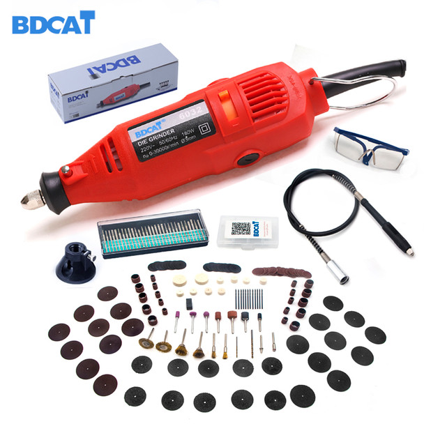 BDCAT 180w engraver Electric Dremel Rotary Tool Variable Speed Mini Drill Grinding tools with 180pcs Power Tools accessories