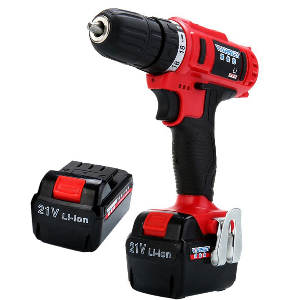 21V Power Drill Waterproof Multifunction Electric Drill Mini Cordless Electric Rechargeable Screwdriver 2 Batteries Power Tools