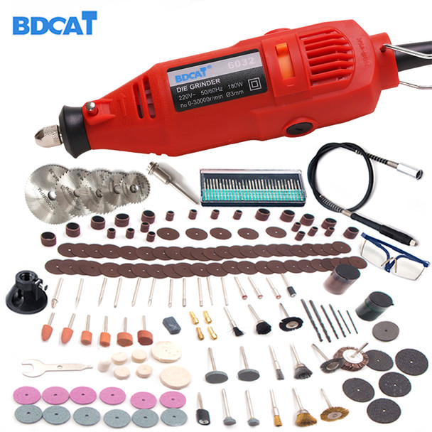 BDCAT 180w 110V/220V Dremel Style Rotary Tool Engraving Mini Drill Grinding Machine with 207pcs Power Tools accessories