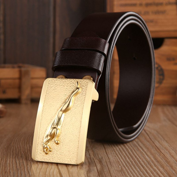 Brand luxury Jaguar model plate buckle full grain leather belts men high quality belt gold boutique cowhide coffee size 115 cm