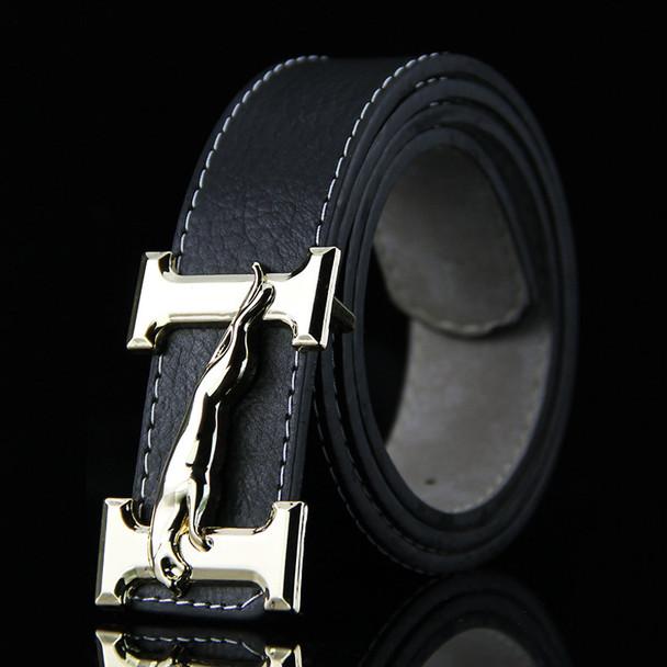 2016 new brown kemer man solid riemen male black pu strap with jaguar belt buckle high quality wholesale
