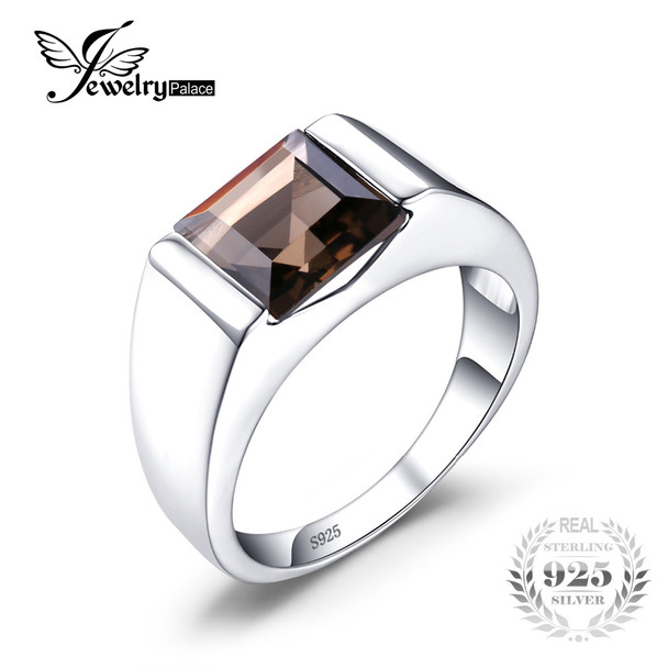 Jewelrypalace Men's Square 2.2ct Genuine Smoky Quartz Wedding Ring 925 Sterling Silver Wedding Ring For Men Fashion Accessories