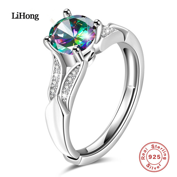 2018 New Designs Sterling Silver Rings Colored Zircon Silver Rings Adjustable Opening Rings Charm Jewelry