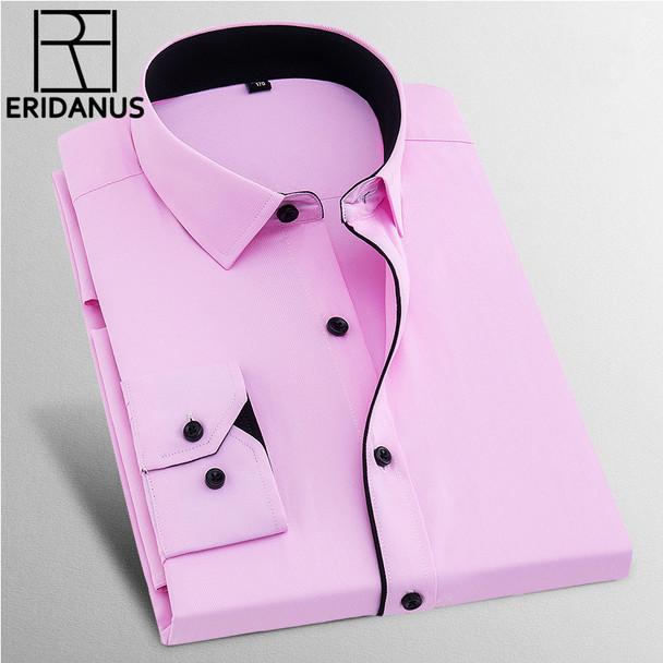 Dress Shirts Men 2017 New Brand Spring Long Sleeve Twill Business Formal Mens Dress Shirts Solid Men's Casual Wedding 8XL X568