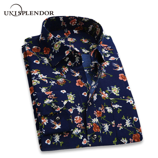 2018 Retro Floral Printed Man Casual Shirts Fashion Classic Men Dress Shirt Breathable Men's Long Sleeve Brand Clothing YN552