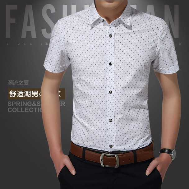 2016 New Men Shirts Brand Turn-down Collar Slim Fit Mens Chemise Homme Casual Summer beach Dot Shirt Short Sleeve Printed 5XL