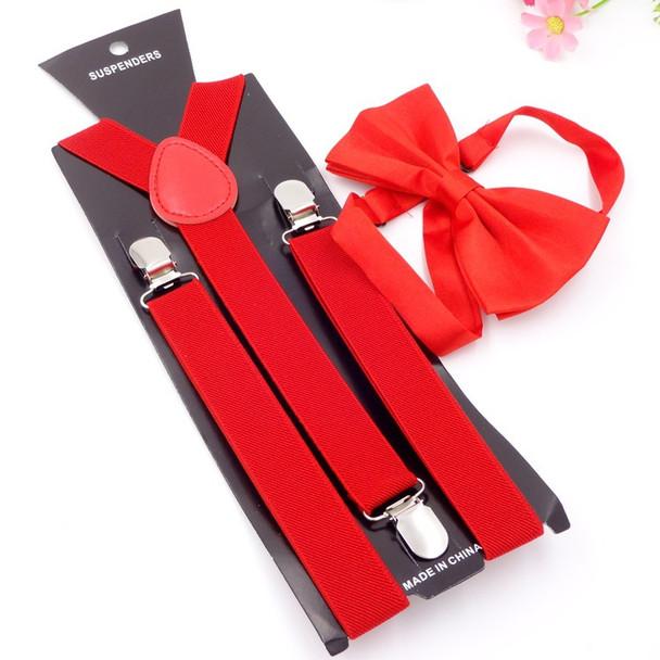 14 Color Unisex Adjustable 3 Clip 2.5CM Wide Braces Elastic Y-back Suspender And Bow Ties Set For Women Men Wedding Party