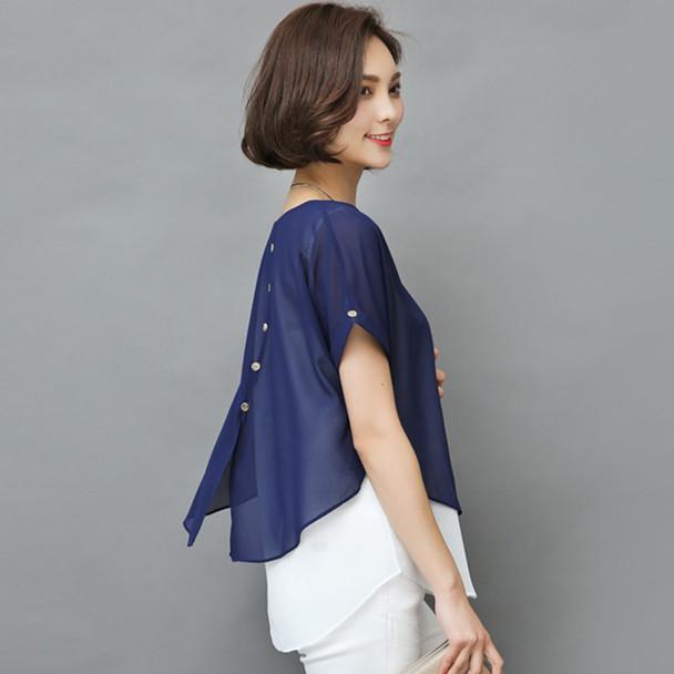 2018 Summer Blouse Women Short Sleeve Chiffon Shirt Ladies Fake Two Piece Blusas Femininas Women Clothing Loose Plus Size 4XL H8