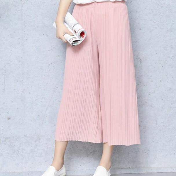 17 Summer Female Wrinkle High Waist Loose Thin Section Wide Range Of Chiffon Legs long Leg Pants Korean Pant Fashion Sexy 8 Co