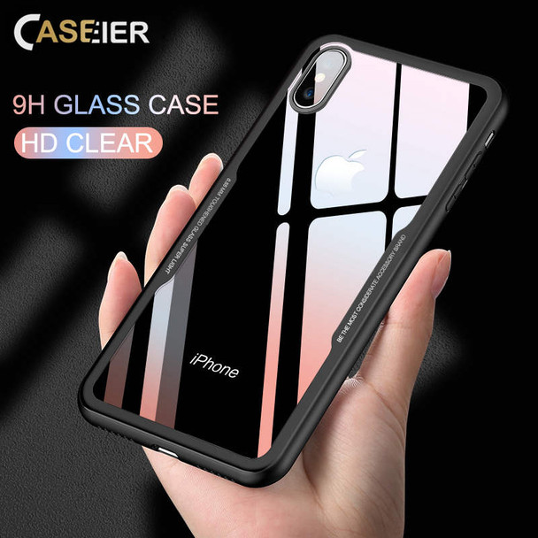 CASEIER Tempered Glass Phone Case For iPhone 7 8 Cases 0.55MM Protective Glass Cover For iPhone 6 6s Plus X Capinha Accessories (casier-iphone x glass case)