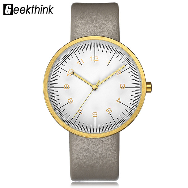 GEEKTHINK Top Luxury Brand Quartz Watch Women Fashion Leather strap Casual Japan quartz-watch Classic clock Female unisex