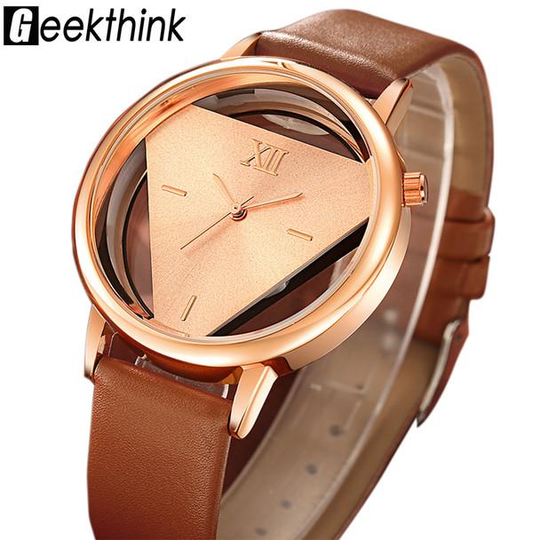 GEEKTHINK Hollow Quartz Watch Women Luxury Brand Gold Ladies Casual Dress Leather Strap Clock Female Girls Trending
